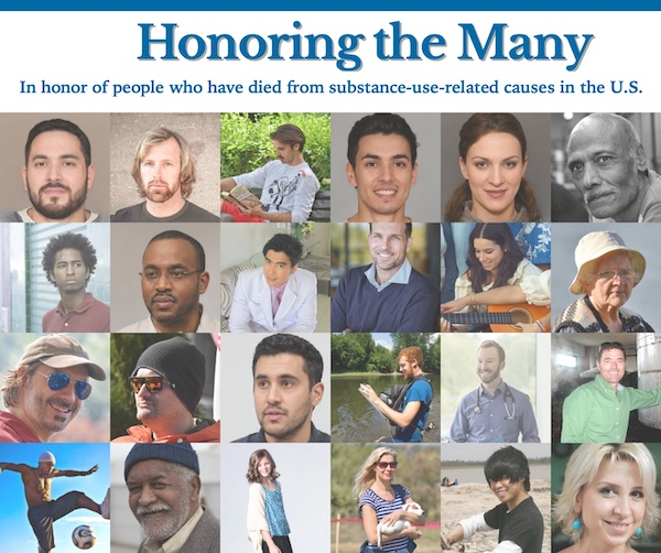 Screenshot of memorial website with pictures of people being memorialized